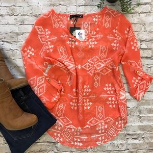 LIVING DOLL Women's Aztec Flowy Blouse NWT Sz S